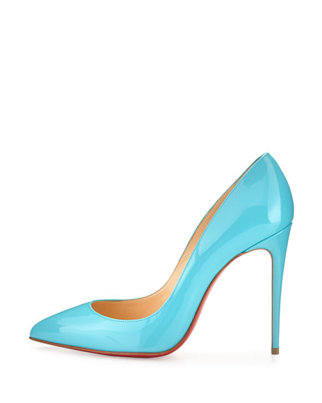 Pigalle Follies Patent 100mm Red Sole Pump, Turquoise