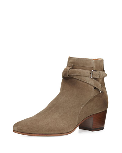 Blake Suede Ankle-Wrap Bootie, Khaki Washed