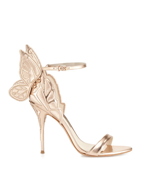 Chiara Butterfly Wing Ankle-Wrap Sandals, Gold