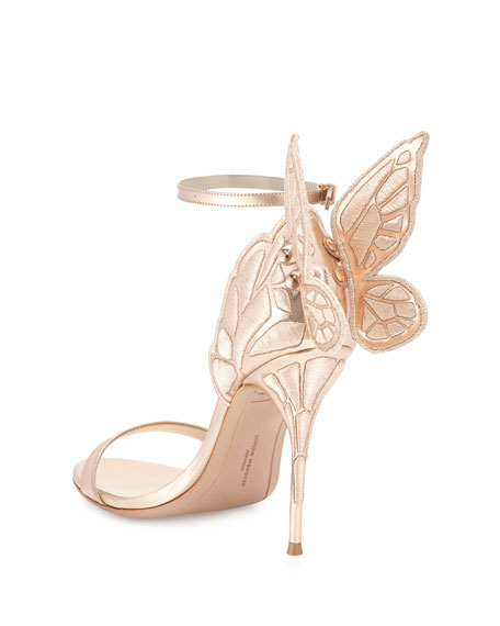 Chiara Butterfly Wing Ankle-Wrap Sandal, Gold
