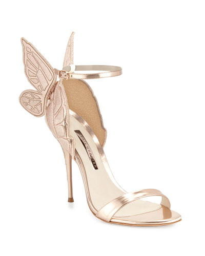 Chiara Butterfly Wing Ankle Wrap Sandal Gold