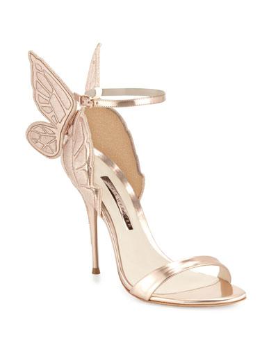 Chiara Butterfly Wing Ankle-Wrap Sandal, Gold