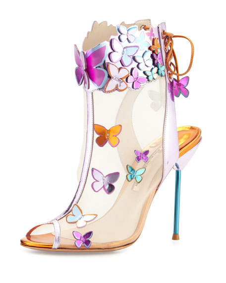 Harmony Mesh 3D Butterfly Bootie, Rosa/Turquoise/Orange