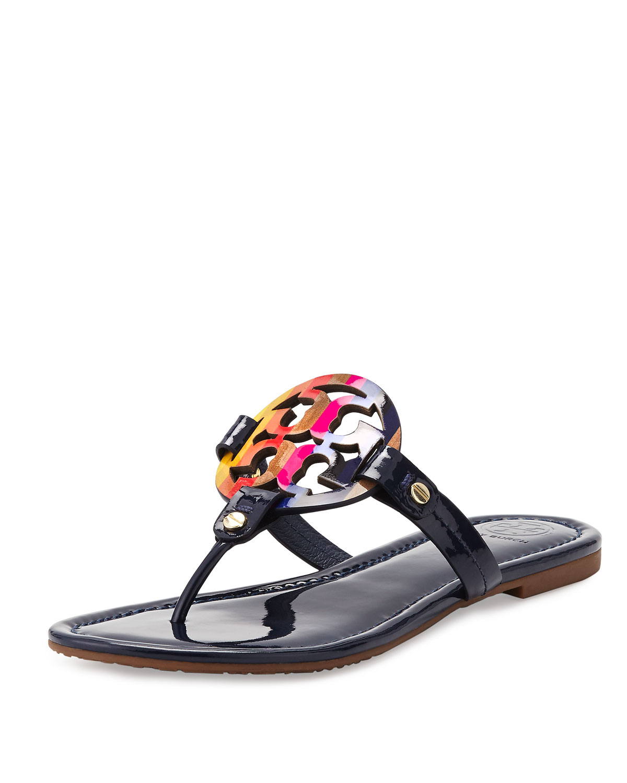 9b5de0bbe Tory Burch Miller Rainbow Logo Sandal