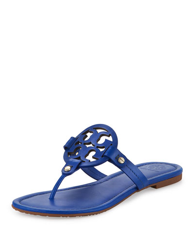 Miller Leather Logo Sandal, Blue Dahlia
