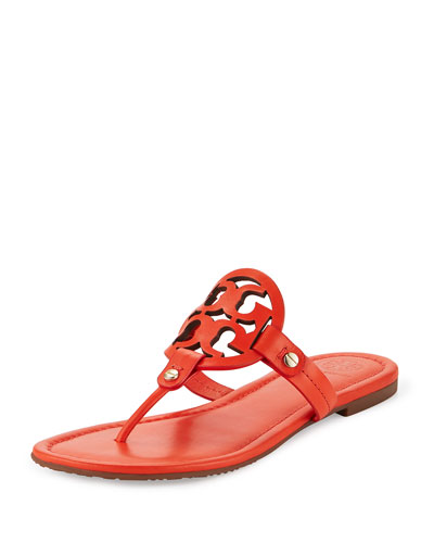 Miller Leather Logo Sandal, Poppy Red