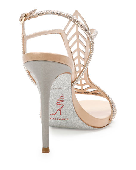 Crystal Chevron T-Strap 105mm Sandal, Beige