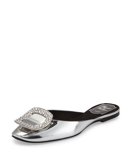 Roger Vivier Ciabattina Strass-Buckle Slide Flat, Black