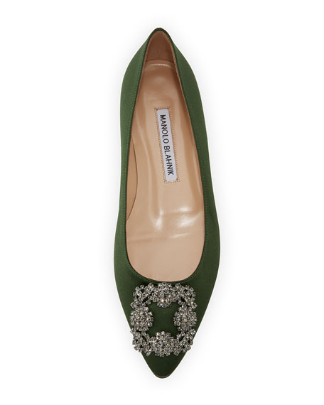 Hangisi Crystal-Buckle Satin Flat, Army Green