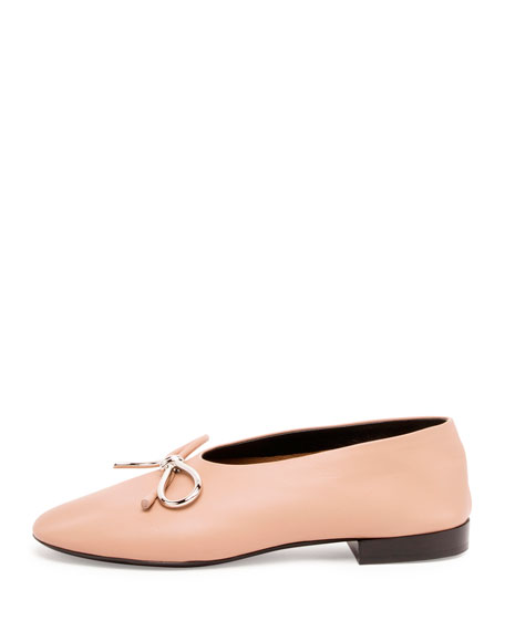 Leather Bow Ballet Flat, Nude