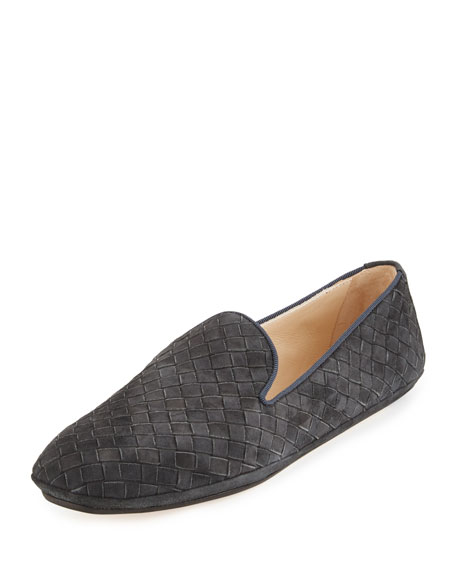Bottega Veneta Intrecciato Suede Smoking Slipper, Gray