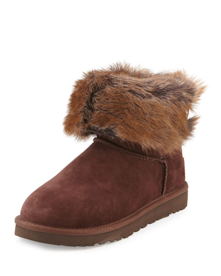 Valentina Shearling Fur Ankle Boot, Demitasse