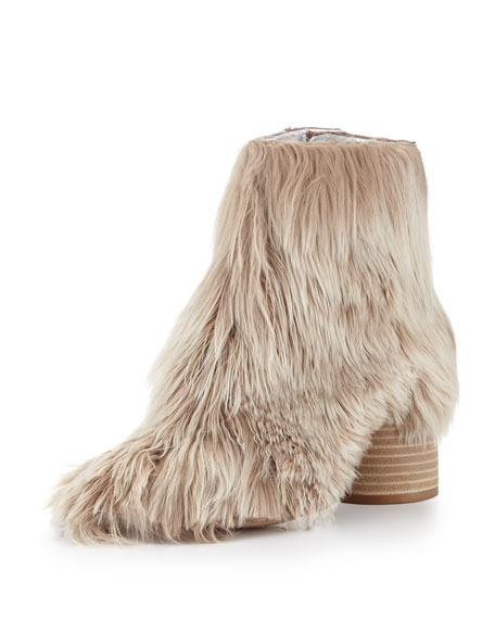 Maison Margiela Alpaca Wood-Heel 80mm Bootie, Natural
