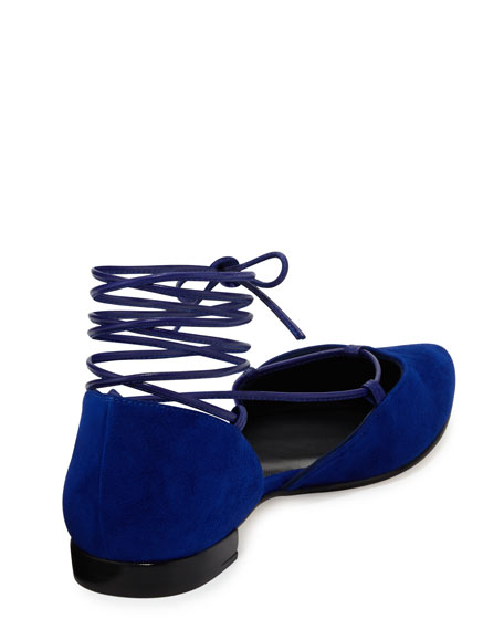 Stuart Weitzman Gilligan Lace-Up d'Orsay Flat, Electric Blue