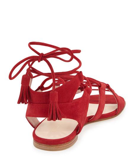 Romanflat Suede Flat Gladiator Sandal, Pomodoro