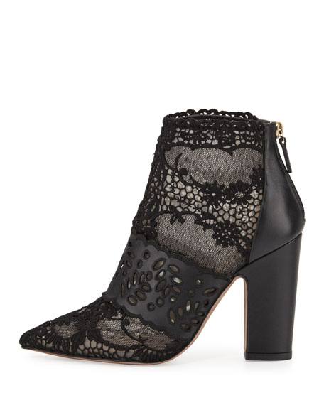 Fusion Lace Pointed-Toe Bootie, Nero/Carne