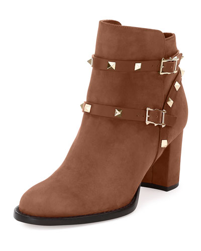 Rockstud Suede Chunky-Heel Boot, Tobacco