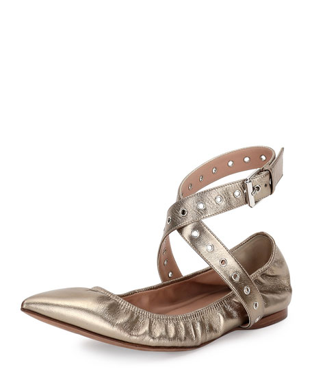 Valentino Love Latch Metallic Ankle-Wrap Flat, Alba