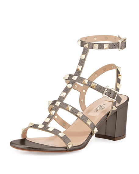 Valentino Rockstud Leather 60mm City Sandal, Sasso