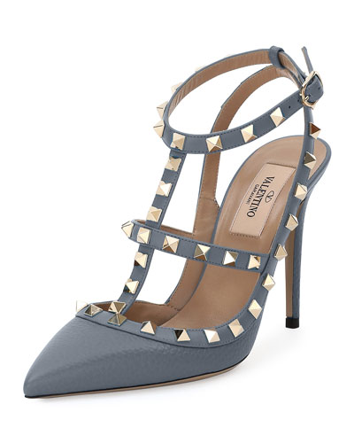 Rockstud 100mm Strappy Pebbled Leather Pump, Light Stone