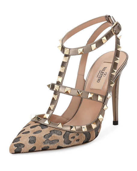 ValentinoRockstud Calf-Hair 100mm Pump, Fucile/Al Campion