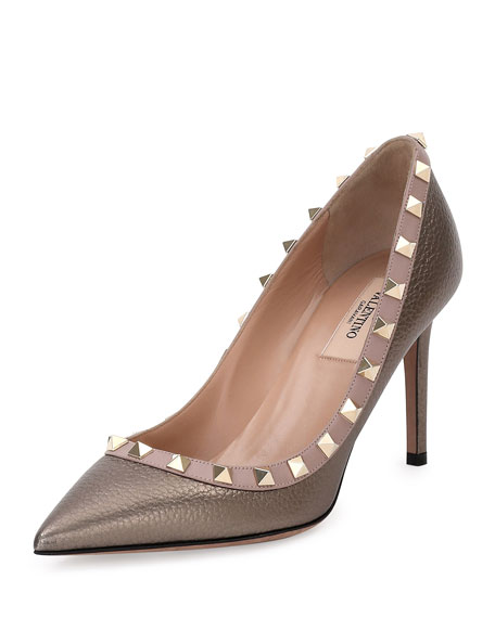 Rockstud Leather 85mm Pumps, Sasso/Poudre