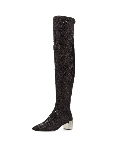 Roger Vivier Polly Sequined Over-the-Knee Boot, Black
