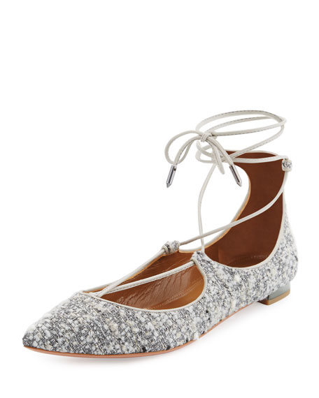 Aquazzura Christy Tweed Lace-Up Pointed-Toe Flat, Light Gray