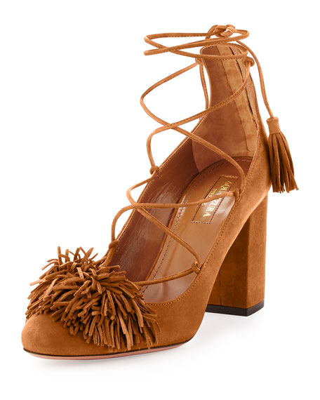 Aquazzura Wild Thing Fringe Block-Heel Pump, Cognac
