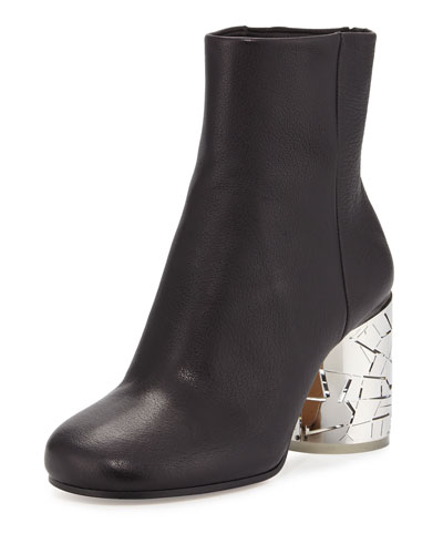 Metal-Heel Leather Bootie, Black