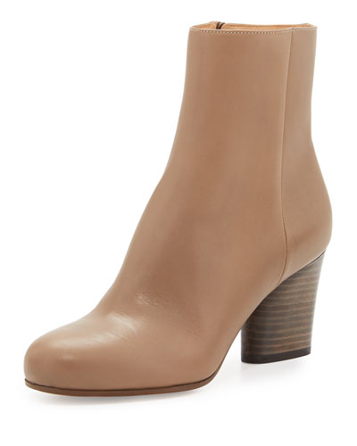 Leather 70mm Ankle Boot, Taupe