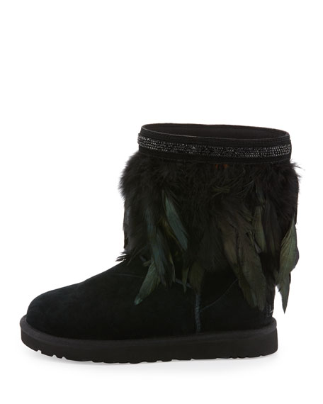 Classic Short Feather-Trim Boot, Black