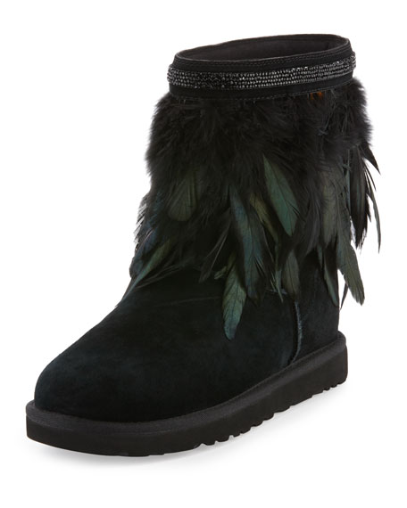 Classic Short Feather-Trim Boot, Black