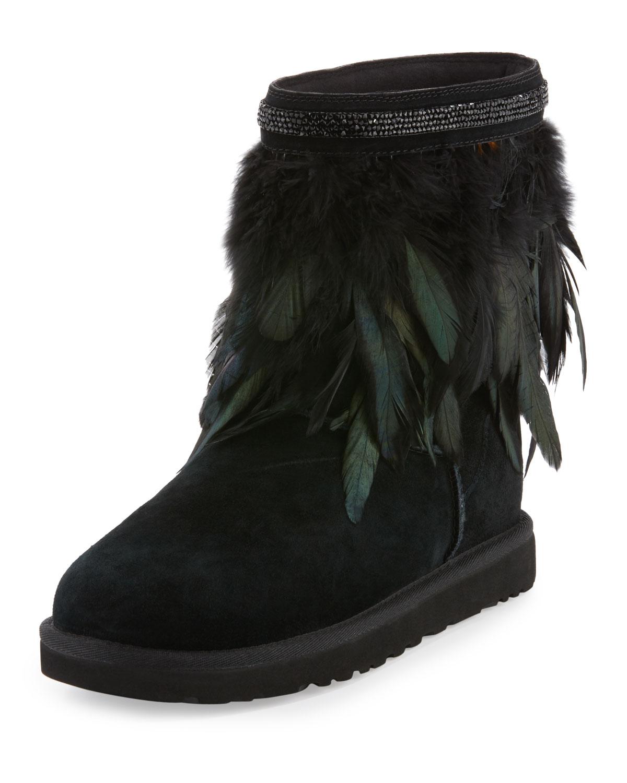 adf182b7ac2 Classic Short Feather-Trim Boot, Black