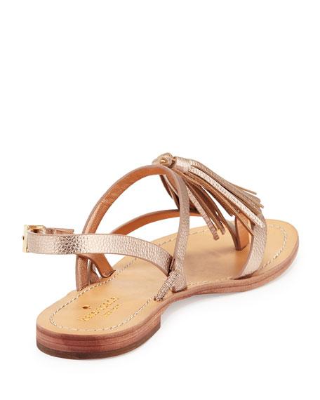 kate spade new york clorinda leather flat tassel sandal, rose gold