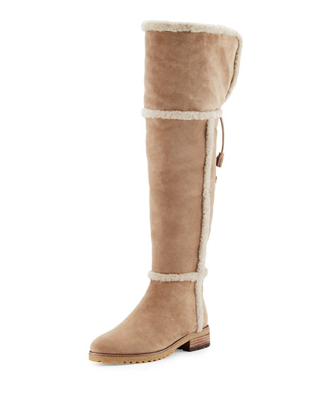Frye Tamara Shearling Over-The-Knee Boot, Taupe