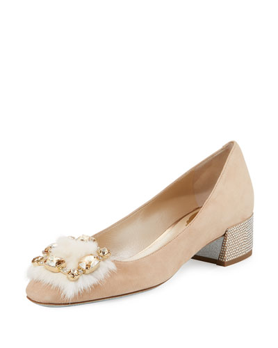 Suede 30mm Pump w/Jeweled Fur Pompom, Nude