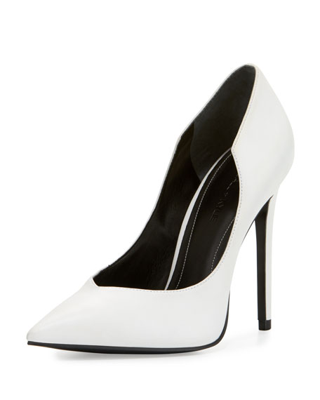 Abi Pointed-Toe Leather Pump, White