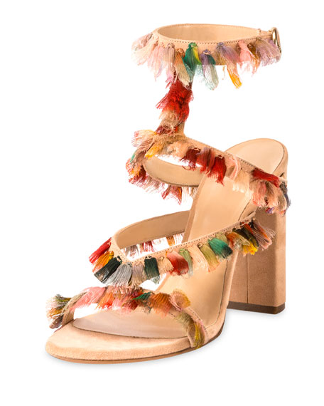 Suede Sandal with Colorful Fringe, Reef Shell