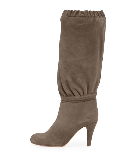 Suede 90mm Knee Boot, Ship Gray