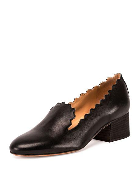 Chloe Scalloped Leather 40mm Loafer, Black
