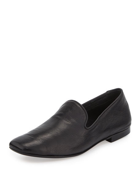 Bray Leather Smoking Loafer, Black