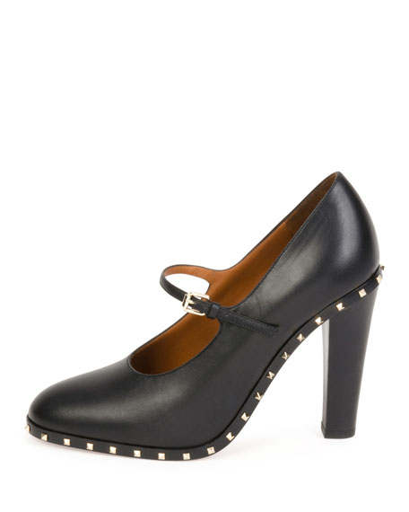 Soul Rockstud Leather Mary Jane Pump, Nero