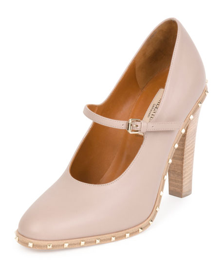 Soul Rockstud Leather Mary Jane Pump, Poudre