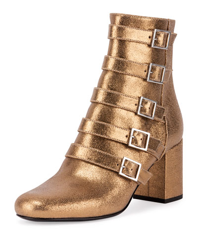 Babies Belted Metallic Leather Boot