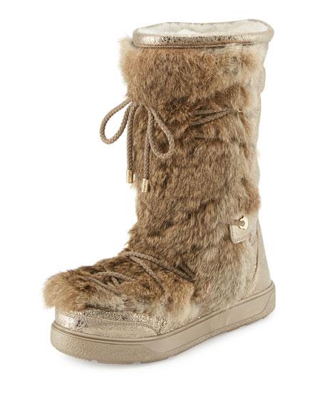 Moncler Laetitia Fur Lace-Up Boot, Beige