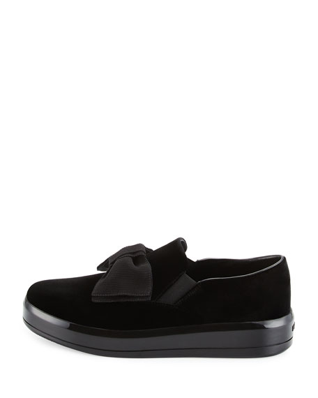 Bow Velvet Skate Sneaker, Black