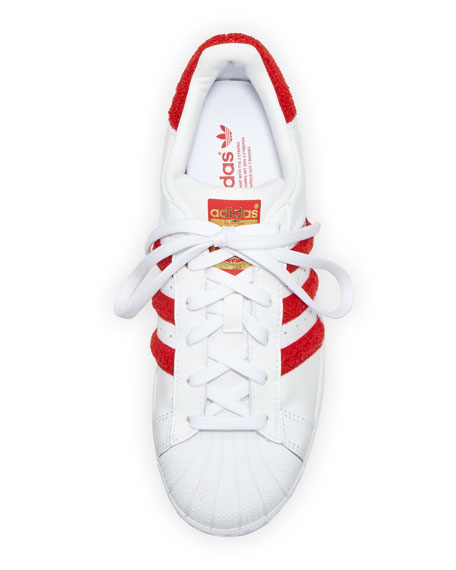 Superstar Classic Fashion Sneaker, White/Scarlet