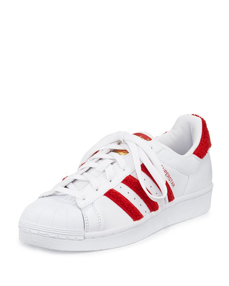 Adidas Superstar Classic Fashion Sneaker, White/Scarlet
