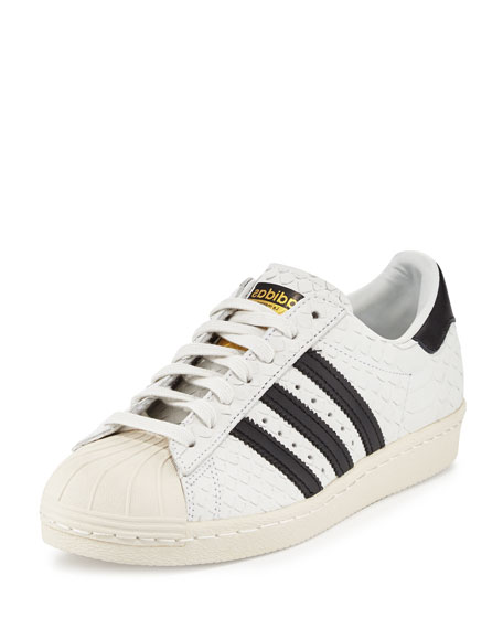 Adidas Superstar '80s Classic Snake-Cut Sneaker, White/Black